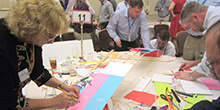 Group collaborates while participating in our Build a Bridge team building activity in Las Vegas Nevada