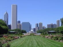 View of Grant Park where groups can participate in our team building activities in Illinois